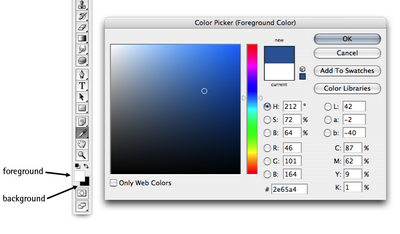 Selecting foreground and background colors using the Color Picker