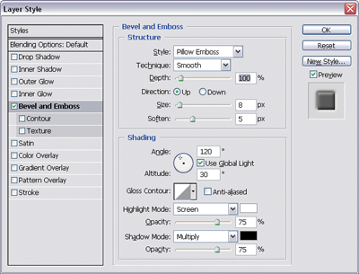 Pillow Emboss options for smooth embedded button