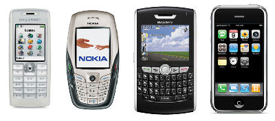 Figure 2. Sony Ericsson T630, Nokia 6600, Blackberry 8800, iPhone
