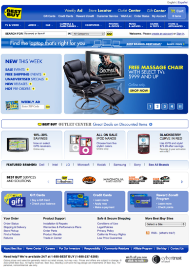 Figure 5. The traditional Best Buy site, with all the bells and whistles