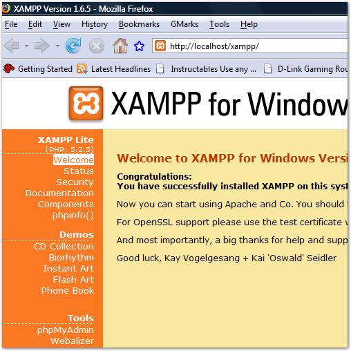 Figure 4. The XAMPP start page