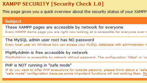 Figure 5: The XAMPP Security Check