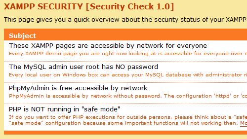 Figure 5: The XAMPP Security Check