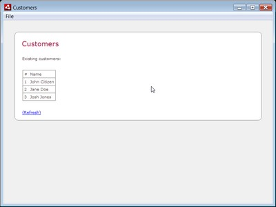 The final Customer Management example application