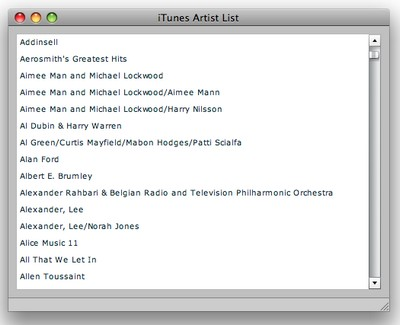 Figure 2. The iTunes Artist List