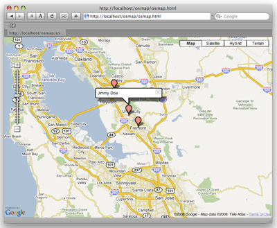 Our completed OpenSocial mapping application