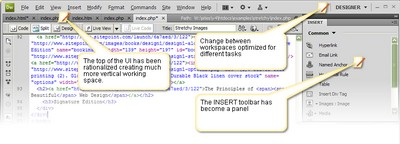 Dreamweaver CS4's Streamlined Interface