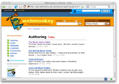 Figure 1.3. Tables tutorials on the popular Webmonkey site