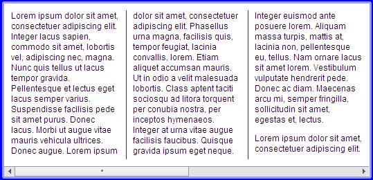 A multi-column layout using -webkit-column-width.