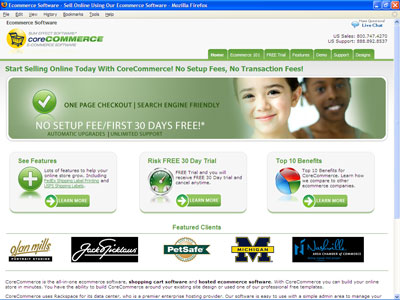 The CoreCommerce home page