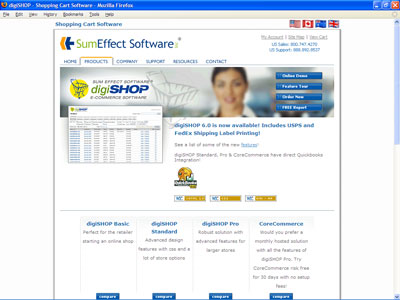 The digiSHOP home page