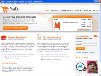 Mal's e-commerce home page
