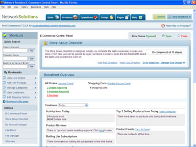 The Network Solutions E-Commerce storefront overview