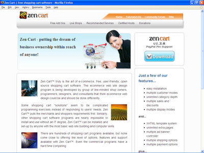 The Zen Cart home page