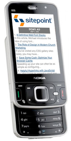 Viewing the mobile SitePoint on a phone
