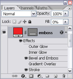 Changing the fill of the emboss layer