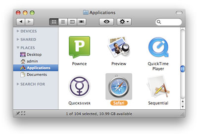 Safari is available via Mac's Applications folder