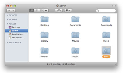 The Sites folder displayed in the Mac OS X home directory