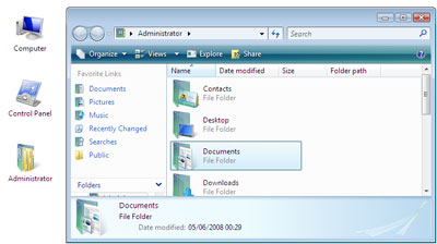 The user folder contains the Documents folder
