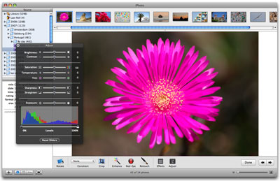Using the image adjustment tools in iPhoto 6