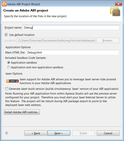 Create an Adobe AIR Project