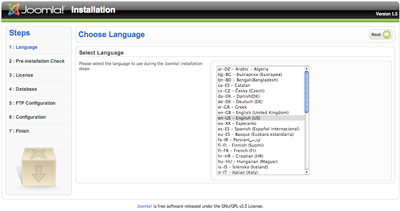 Installation language selection
