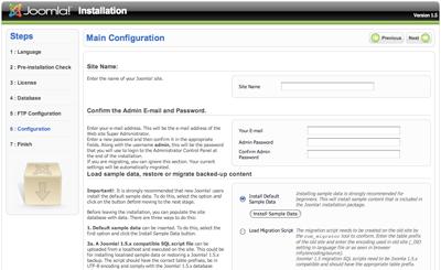Web site configuration