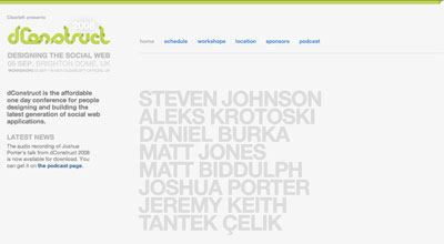 Speakers are the priority on the 2008 dConstruct site's homepage ...