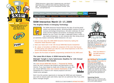 ... but the multitude of speakers at South by Southwest Interactive5 means the homepage should house