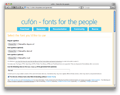 The generator converts your fonts into a JavaScript file