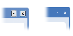 CSS applied to the minimize and quit buttons