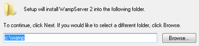 The default installation directory is a good choice