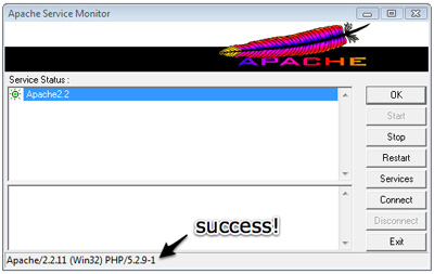 The PHP version number indicates Apache is configured to support PHP