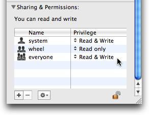 Set the permissions for everyone to Read & Write