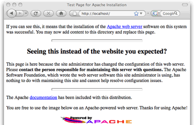 The standard Apache welcome page