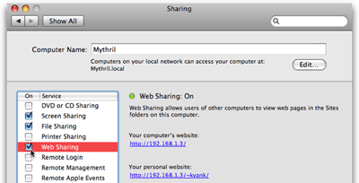 Enable Web Sharing in Mac OS X