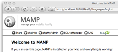 The MAMP welcome page confirms Apache, PHP, and MySQL are up and running