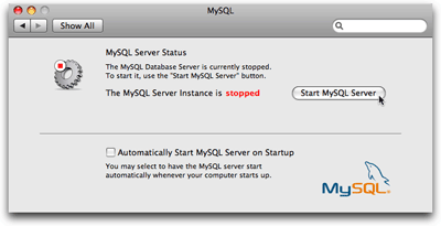 The MySQL System Preferences pane