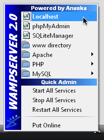 The WampServer menu