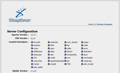 The home page provided by WampServer confirms Apache, PHP, and MySQL are installed