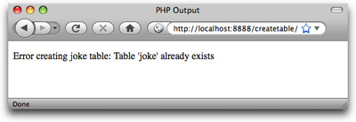 The CREATE TABLE query fails because the table already exists
