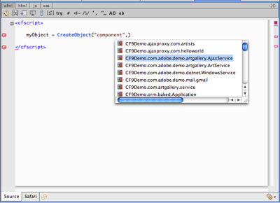 Code completion in ColdFusion Builder