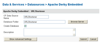 Setting up our Derby database