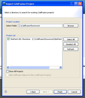 Selecting the project in the Import ColdFUsion Project dialog