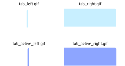 The image files used to create the tabs