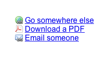 Links with icons for external and email links, and PDF files