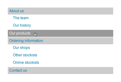 The styled sitemap