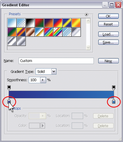 The Gradient Editor dialog