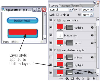 Button layer with styles applied
