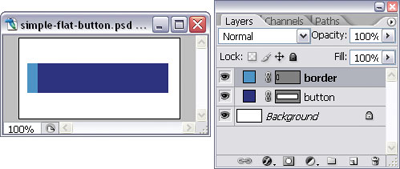 Rectangular button with thick border